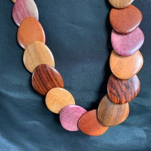 Polished Wood Disk Necklace Statement Necklace